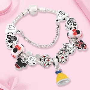 Leabyl Classic Trendy Cartoon Princess Pendant Charm Bracelet Mix Color Enamel Mickey Minnie Dangle Bead Bracelet Heart Bracelet(China)