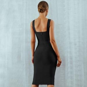 Image 4 - Seamyla 2020 nowa sukienka bandaż kobiety bez rękawów impreza celebrytów sukienki Sexy wino czerwone czarne morele Vestido wyjściowa sukienka klubowa