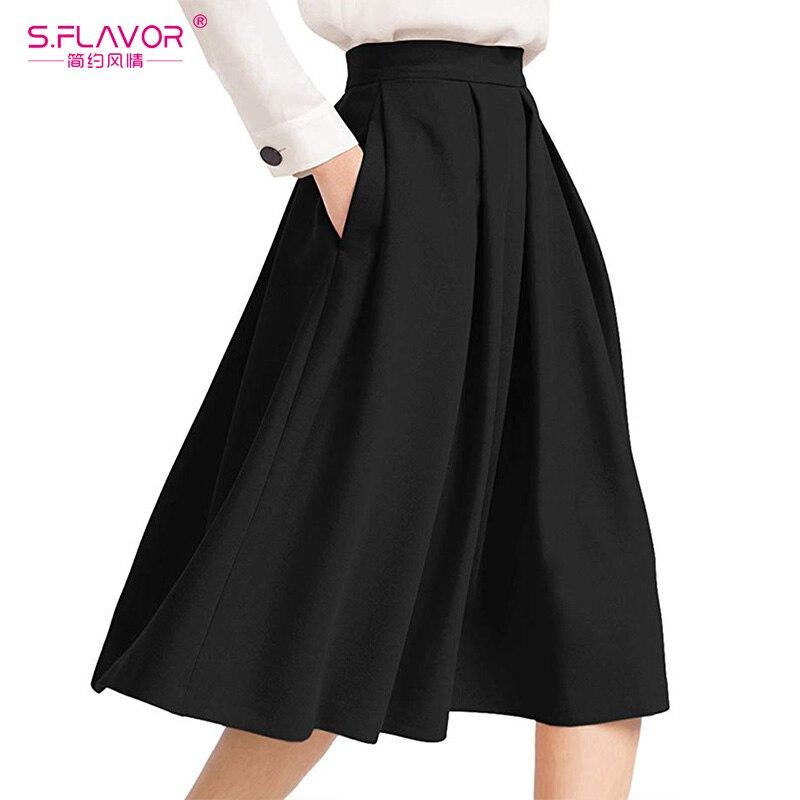 S.FLAVOR Новая Элегантная Женская Расклешенная плиссированная юбка 2021, модная Однотонная юбка с высокой талией и карманами, Повседневная Свобо...