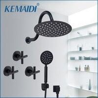 KEMAIDI Square Shower Head Waterfall Spout Shower Faucet Set 8 12 16 Inch Black Shower Rainfall Tub Shower Faucet Bathtub Rain