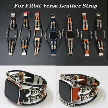 Genuine Leather Wrist Strap for Fitbit Versa/Versa Lite Replacement Wristband Bracelet for Fitbit Versa 2 Watch Band Accessories