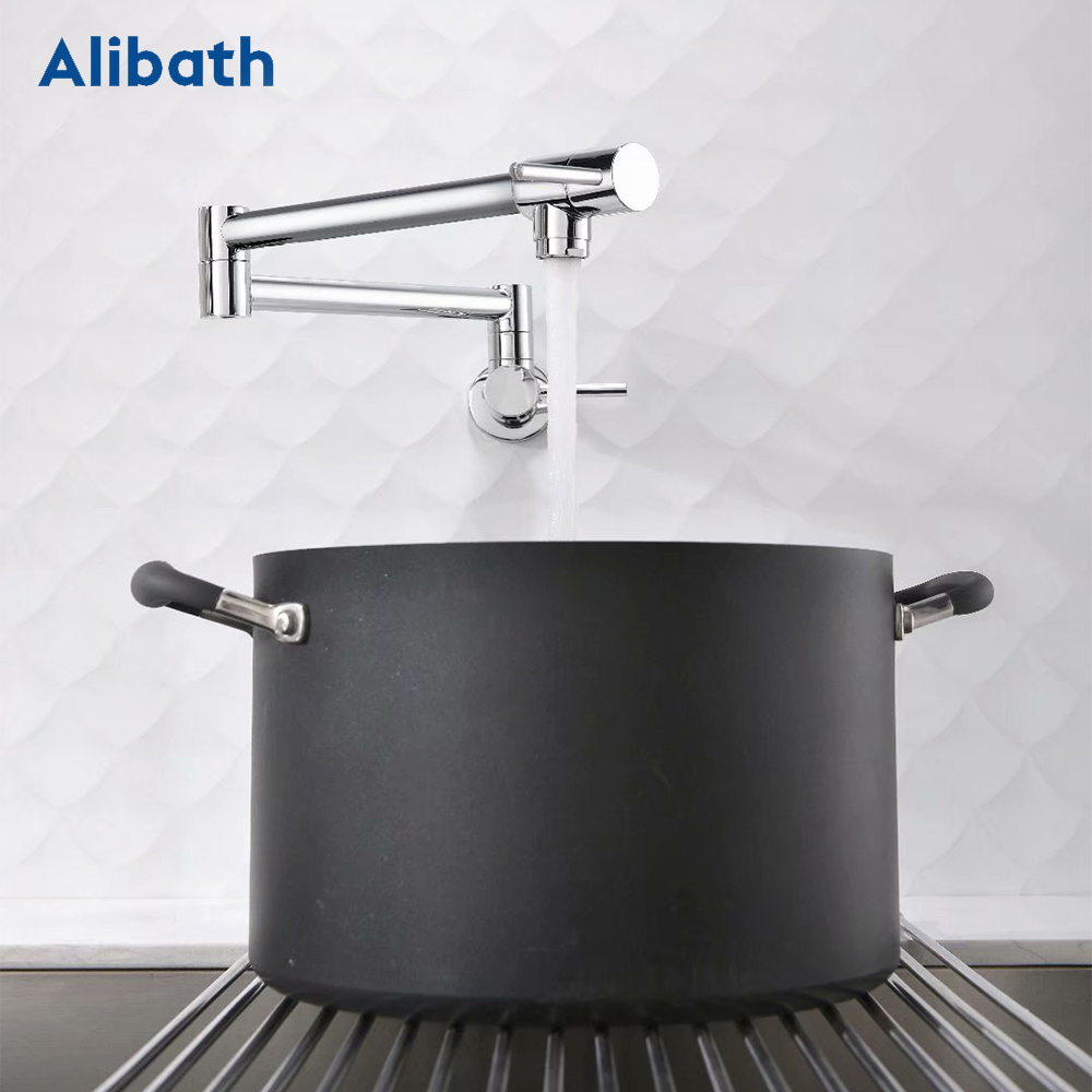 Brass Wall Mounted Kitchen Faucet Pot Filler Faucet Swivel Folding Retractable Rotary Stretch Basin Faucet Sink Tap.