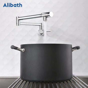 Brass Wall Mounted Kitchen Faucet Pot Filler Faucet Swivel Folding Retractable Rotary Stretch Basin Faucet Sink Tap. stainless steel wall mounted kitchen faucet wall kitchen mixers kitchen sink tap 360 degree swivel flexible hose double holes