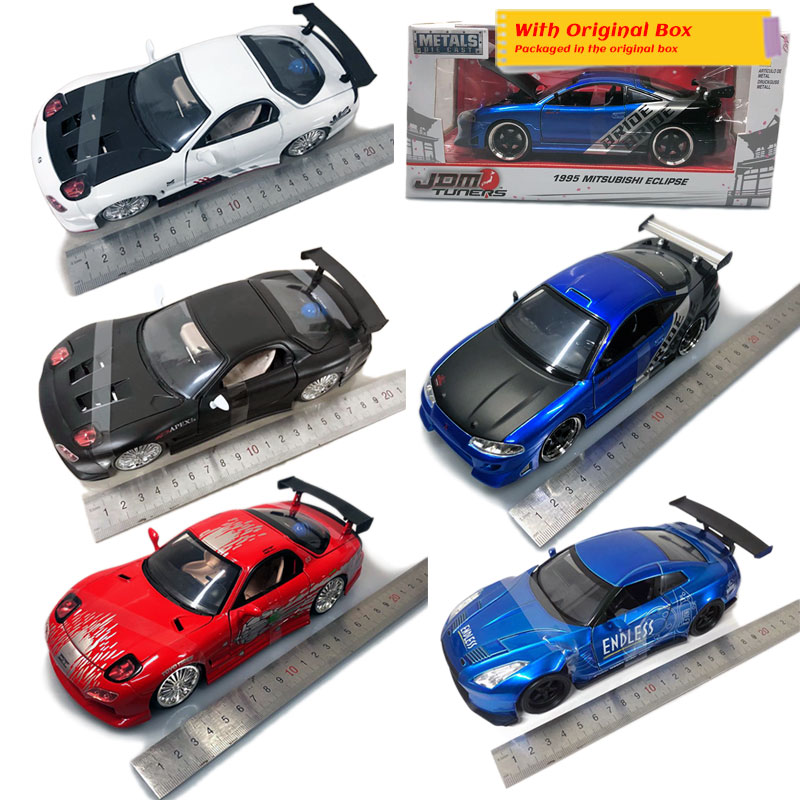 JADA 1/24 Scale JDM Tuners Mitsubishi,TOYOTA,MAZDA RX-7,Nissan Diecast Metal Car Model Toy For Gift,Kids,Collection,Decoration