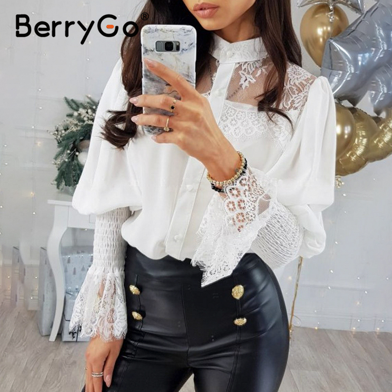 BerryGo Elegant Lace White Blouse Shirt Women Long Sleeve Patchwork Female Tops Black Shirts Spring Summer Office Ladies Tops