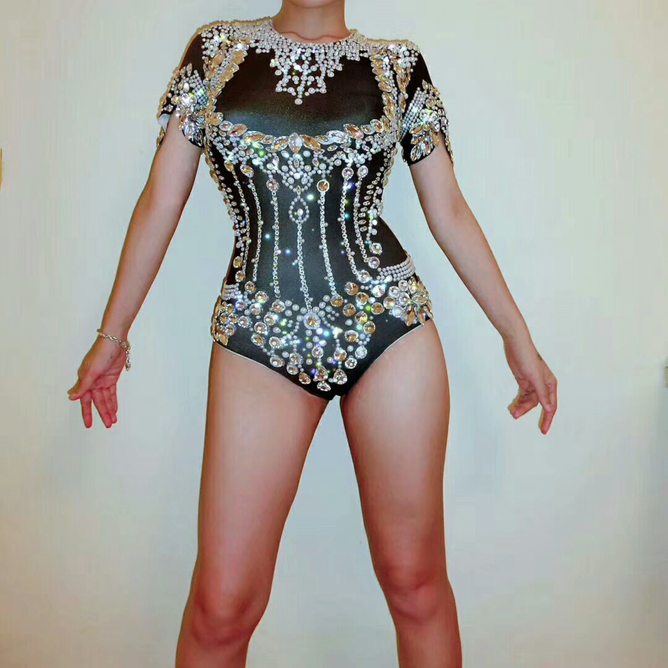 Black Shining Crystal Bodysuit Women Sparkly Rhinestone Headpiece Outfit Sexy Stage Outfit Female Birthday Celebrate Dance Wear