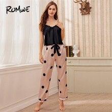 ROMWE Lace Trim Satin Cami with Polka Dot Pants Women Pajamas Set Spring Summer Sleeveless Sexy Nightwear Ladies Pj Set plus polka dot lace trim pajama set