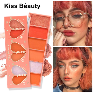 6 Color Orange Series Eyeshadow Blush Matte Pearlescent Eye Shadow Pigment Eye Shadow Palette Makeup Cosmetics Face Blush TSLM1