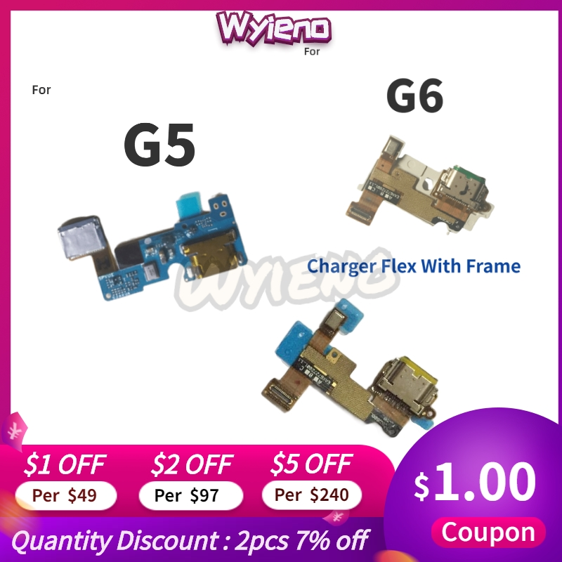 Wyieno Charging Port  For LG G6 H870 G5 Type C Micro USB Charger Connector Flex Cable Board Replacement With Microphone MIC