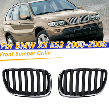 Left Right Chrome Black Front Hood Bumper Kindey Grille Grill For BMW X5 E53 2000 2001 2002 2003 2004 2005 2006 51137113733 image
