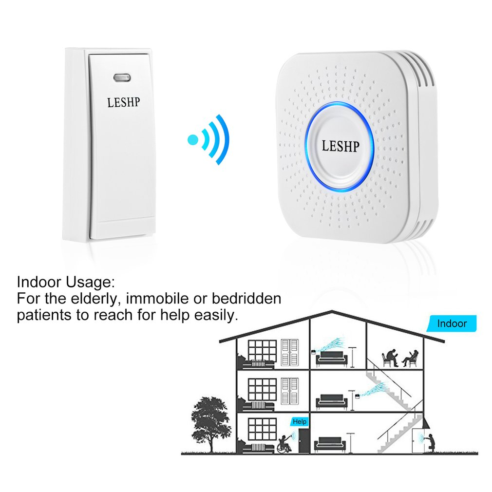 Hot/LESHP Easy to Install Music Wireless Doorbell 150M Long-distance Remote Control Night Light 58 pieces of Chord Music image
