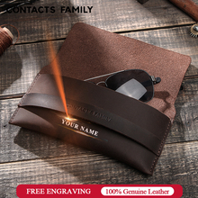 Genuine Leather Glasses Case Protectable Eyewear Pouch Eyeglasses Accessories Protector Container Sunglasses Storage Pouch Bag