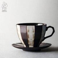 Japanese Vintage Coffee Cup Saucer Set Creative Rough Pottery Teacup Porcelain Simple Teacup Art Retro Coffee Cup Jingdezhen D6D