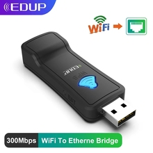 EDUP WiFi To Ethernet LAN Converter Bridge USB Port Wireless Repeater 300Mbps 2.4GHz with Lan Port Adapter For TV & Set Top Box