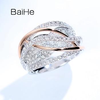 BAIHE Solid 14K White+Rose Gold 1.4ct Round cut Natural Diamonds Fine Jewelry Wedding Ring Engagement Gift Trendy Diamond Ring 2