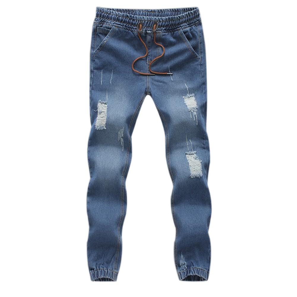 Men Fashion Jeans Drawstring Slim Fit Denim Ankle Length Jogging Casual Pants