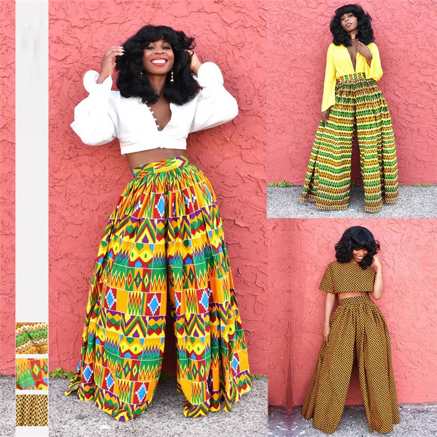 Fadzeco African 2019 New Ladies Clothes Dashiki Print Trousers Wide Legs Female High Waist Pants African Dress For Women