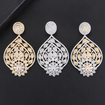 LARRAURI Full Crystal Shiny Luxury Pendant Earrings Jewelry For Bridal Wedding Actor Dancer Stage Performance Show Jewelry