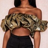 Женский топ с открытыми плечами, модный сексуальный топ с коротким рукавом, рубашка золотого цвета, новинка 2020, летние обтягивающие женские ...