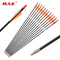 200/500pcs Wholesale Arrow Spine 700 31.5 Inches 7mm Fiberglass Arrow with Orange Feather for Recurve Long Bow Hunting Archery