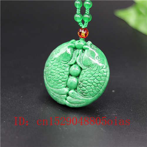 ธรรมชาติสีเขียวมรกตหยกจี้ราศีมีนปลาสร้อยคอสร้อยคอสร้อยคอสร้อยคอสร้อยคอสร้อยคอสร้อยคอสร้อยคอสร้อยคอสร้อยข้อมือหยกเครื่องประดับอัญมณีแฟชั่นแกะสลักของขวัญ Amulet สำหรับผู้หญิงผู้ชาย