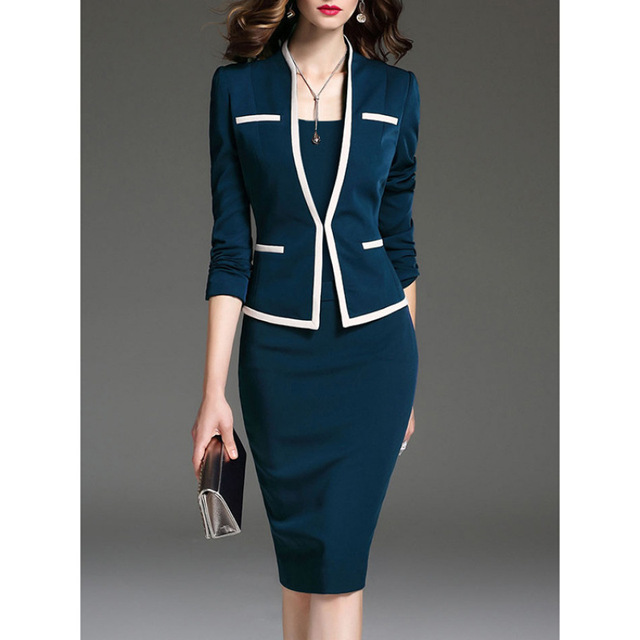 Women Two-piece  Round Neck Office Suit