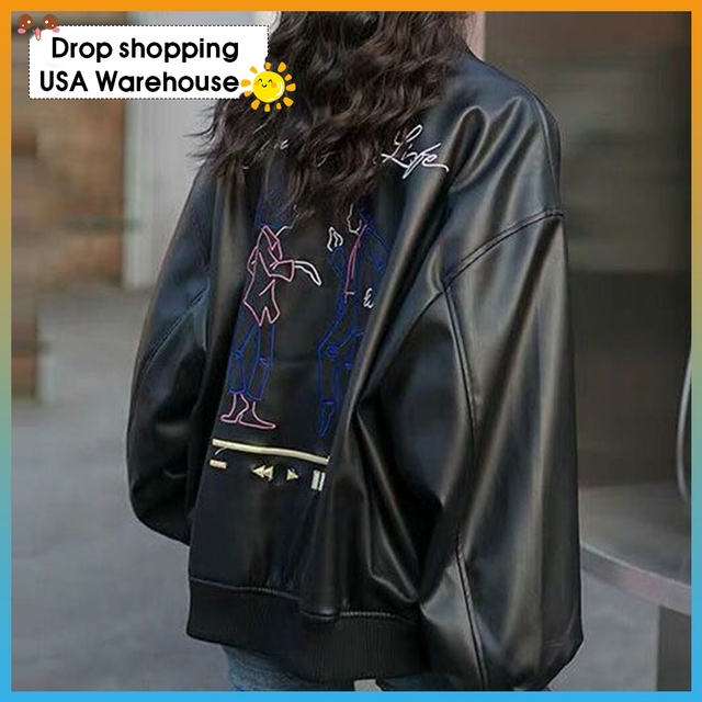 black leather jacket female student Korean loose ladies spring and autumn leather coat women top 2020 new motorcycle jacket 1