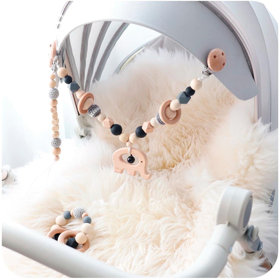 Bébé jouets Silicone perles dents bébé Mobile à la main Bracelet sucette chaîne Clips dentition landau poussette cloche bébé produits