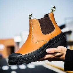Botas Chelsea Dos Homens Clássicos Da Moda Botas Botas de Inverno Confortáveis Sapatos Masculinos de Couro de Alta Qualidade Plus Size Não-Slip Botas hombre