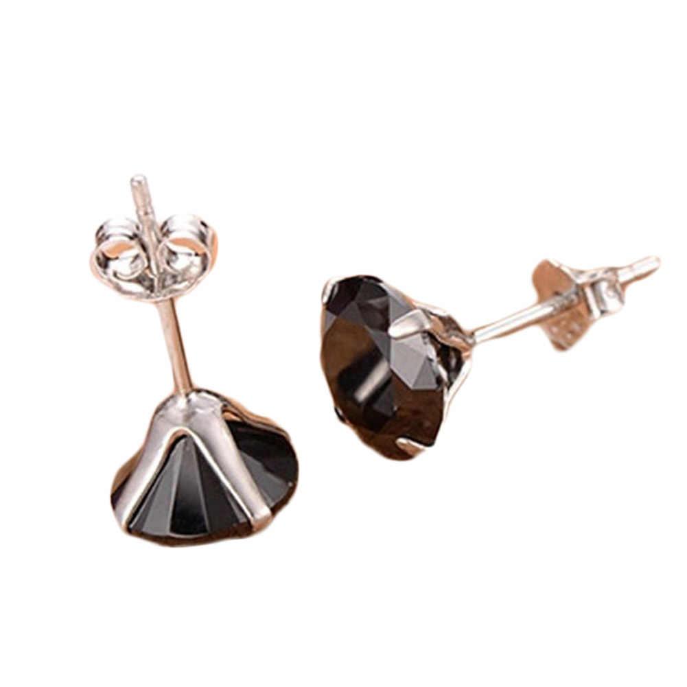 Pendientes chapados de tachuela en plata Simple para Mujeres Hombres pequeños pendientes de circonita negra 3mm Nueva joyería de moda