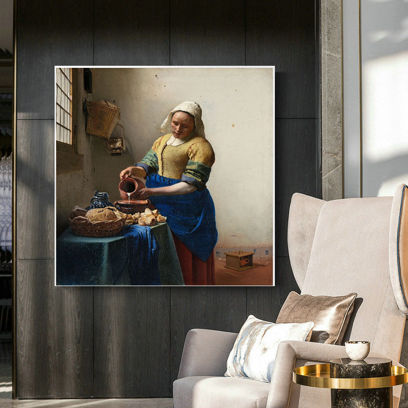 Vermeer Wall Art Canvas Painting Maid Pouring Milk Oil Painting Print Wall Poster Decoration Abstract Decorative Paintings