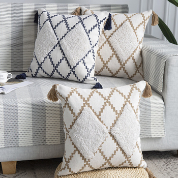 Cotton Woven cushion cover 45x45cm Moroccan Style pillow cover Navy Khaqi Diamond Tufted  Tassles for Home decoration Sofa Bed beige plaid cushion cover vintage colored dots moroccan style pillow cover 45x45cm home decoration zip open