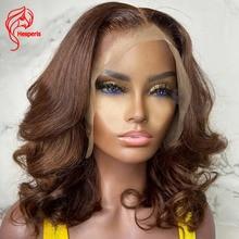 Human-Hair-Wigs Bob Wigs Hesperis Short-Wave T-Part Brown Pre-Plucked Black-Women Brazilian