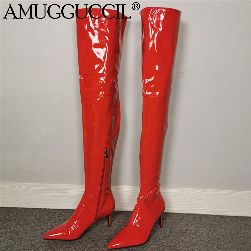 2020 New Plus Big Size 35-46 Red Zip Fashion Sexy Over The Knee Thigh Mid Heel Autumn Winter Female Lady Womens Boots X1966