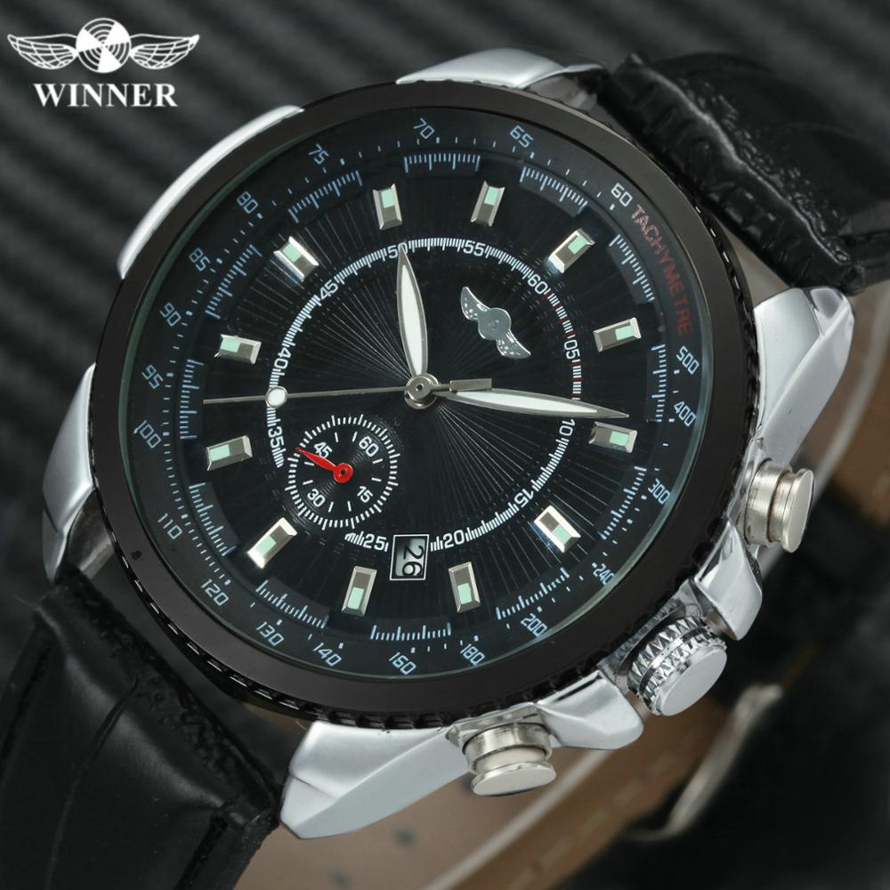 WINNER Official Casual Fashion Watch Men Skeleton Automatic Mechanical Mens Watches Top Brand Luxury Leather Strap Dress Clock