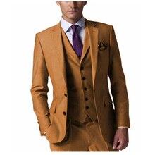 New Arrival Men's Suit 3 pieces Groom Tuxedos Two Button Notch Lapel Groomsmen Best Man Suit For Wedding (Blazer+Vest+Pants)