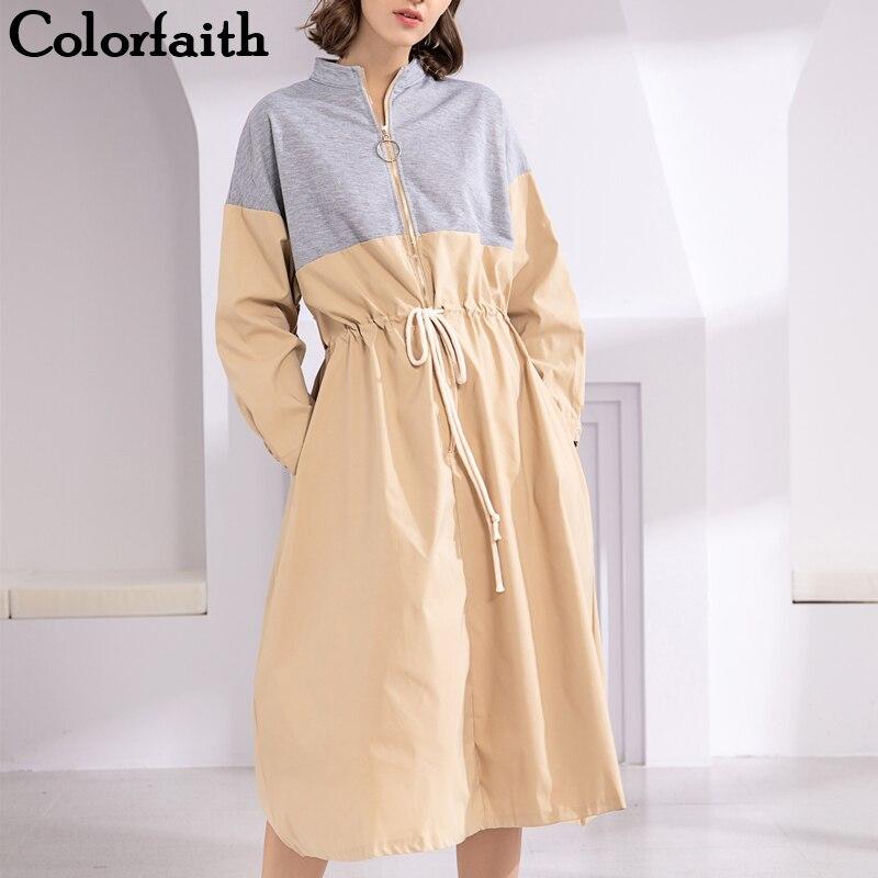 Colorfaith, новинка 2019, женские осенне-весенние платья, спортивный стиль, пэтчворк, эластичная талия, молния, длинный рукав, повседневные, на шнур...