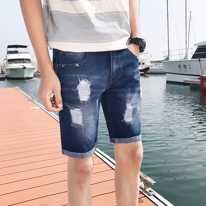 Denim Shorts Men's Korean-style Flow Capri Slim Women's Shorts Summer Casual With Holes Trend Beggar 5 Popular Brand