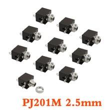 10Pcs/Lot PJ-201M MIni Female Jack Audio Connector PJ-201M 2.5mm 3 Pin DIP Headphone Jack Socket Mono Channel Audio Adapter