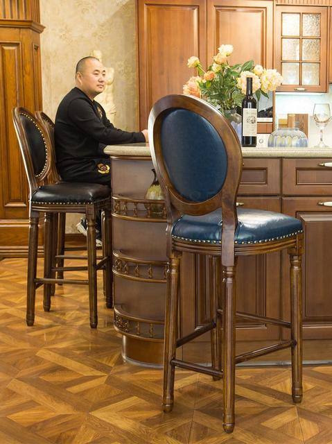 High Backrest Wooden Bar Stool 1