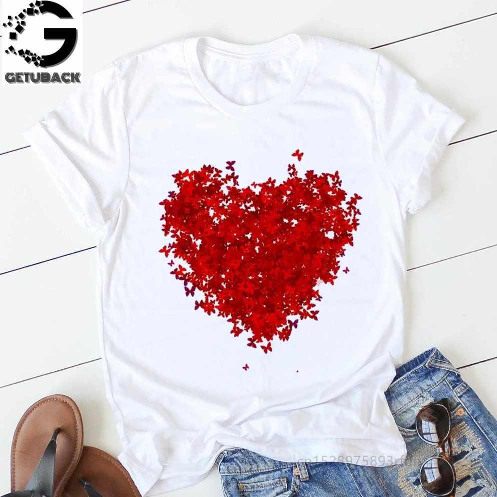 Roze Hart Bloem Print Vrouwen Tshirt Katoen Casual Grappige T-shirt Gift 90 S Lady Yong Girl Drop Ship S-894 valentijnsdag Gift
