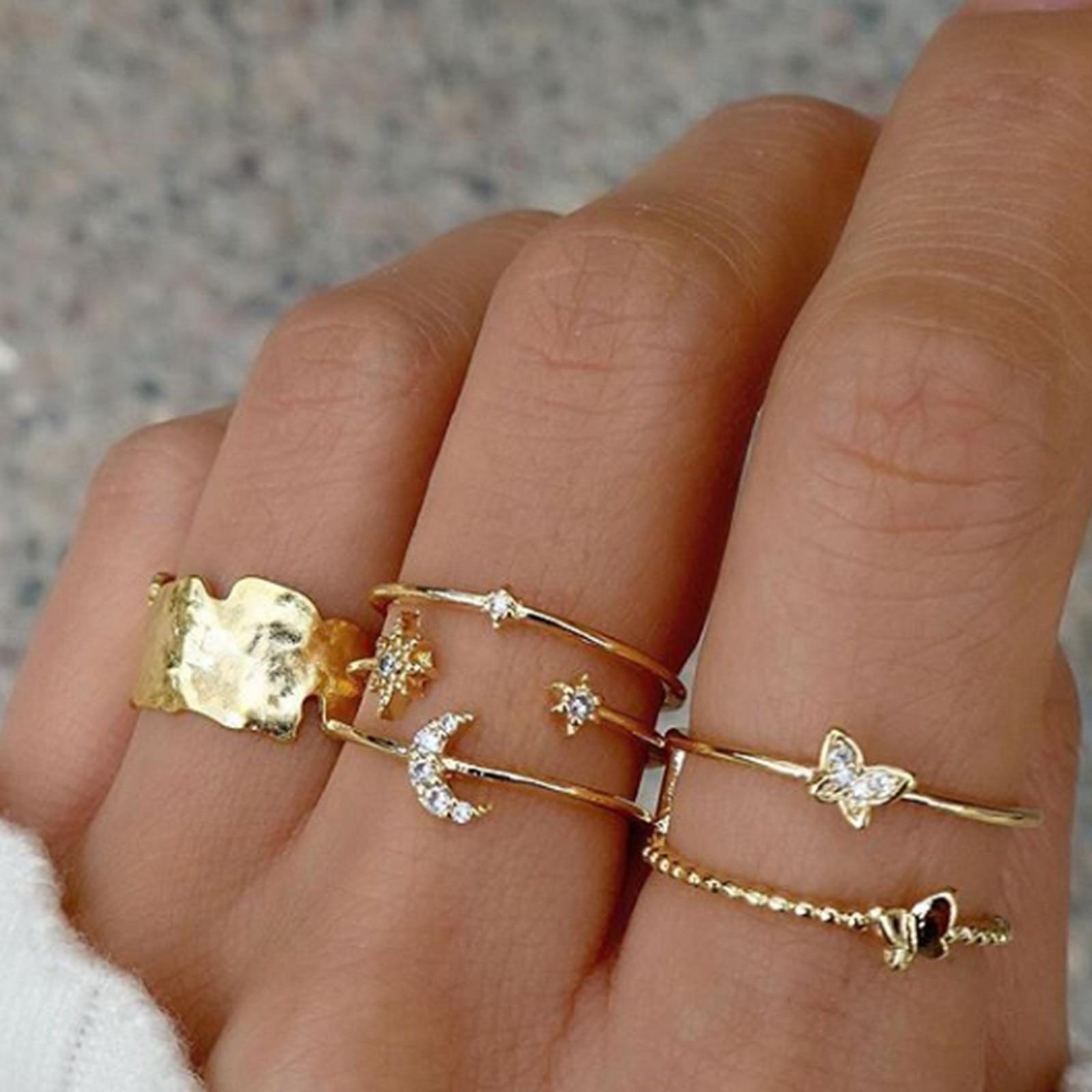 Vento frio geométrico banhado a ouro europeu e americano anel conjunto elegante requintado produto entrega rápida anillo