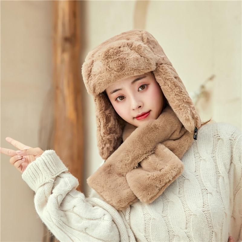 Winter Faux Fur Hat Warm Soft Rabbit Fur  Earmuffs Cute Hat Cap  Winter Bomber Hats