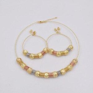 Image 3 - Высококачественные модные серьги подвески Ltaly 750 золотого цвета, разноцветное ожерелье, металлический набор украшений для вечерние 2020
