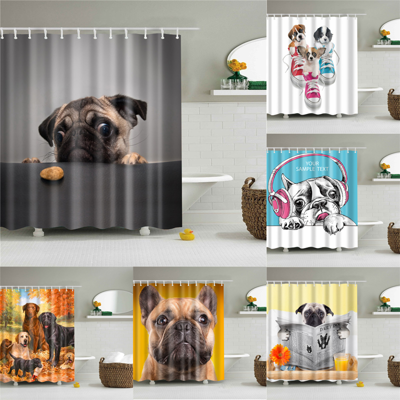 Animals Dog Pictures Shower Curtains For Bathroom High Quality Waterproof Bath Curtain Set Polyester Fabric Bath Decor