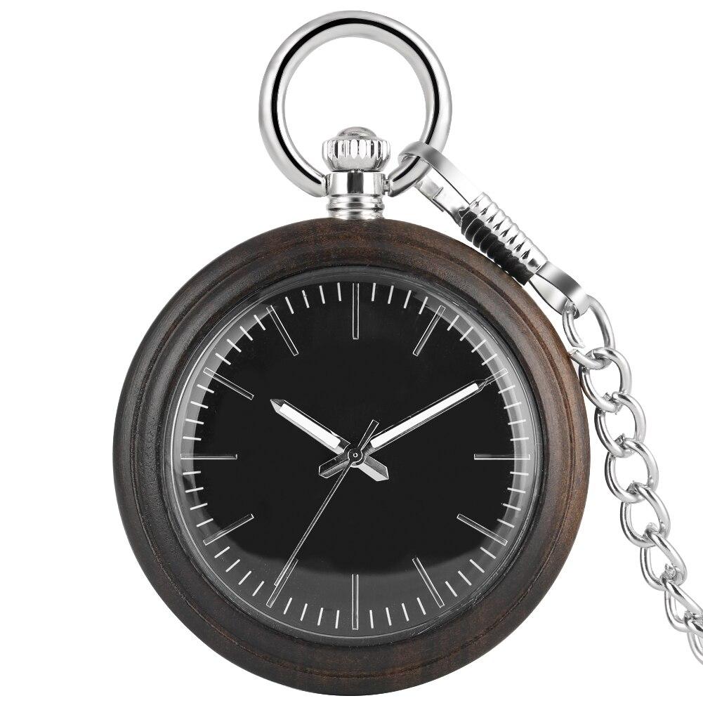 Ebony Large Dial Pocket Watch Men Excellent Black Wooden Alloy Rough Chain Pendant Watch Necklace Gift Reloj De Bolsillo Mujer