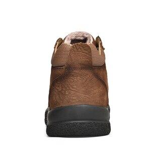 Image 4 - Plus Größe Natürliche Leder Männer Stiefel Handmade Warm Plüsch Pelz Männer Winter Schuhe Qualität Knöchel Schnee Stiefel Outdoor Schuhe Männer