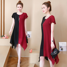 women dress Summer dress size Stitching dress Summer dress casual Plus size dress loose thin dress chiffon stitching mid-length dress gaudi dress