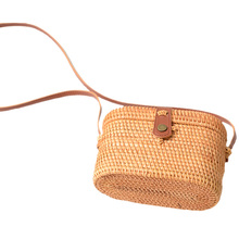 Rattan Beach Basket Bag Retro Hand-Woven Straw Crossbody Pu Strap Box Shape Small Handbags Nurse