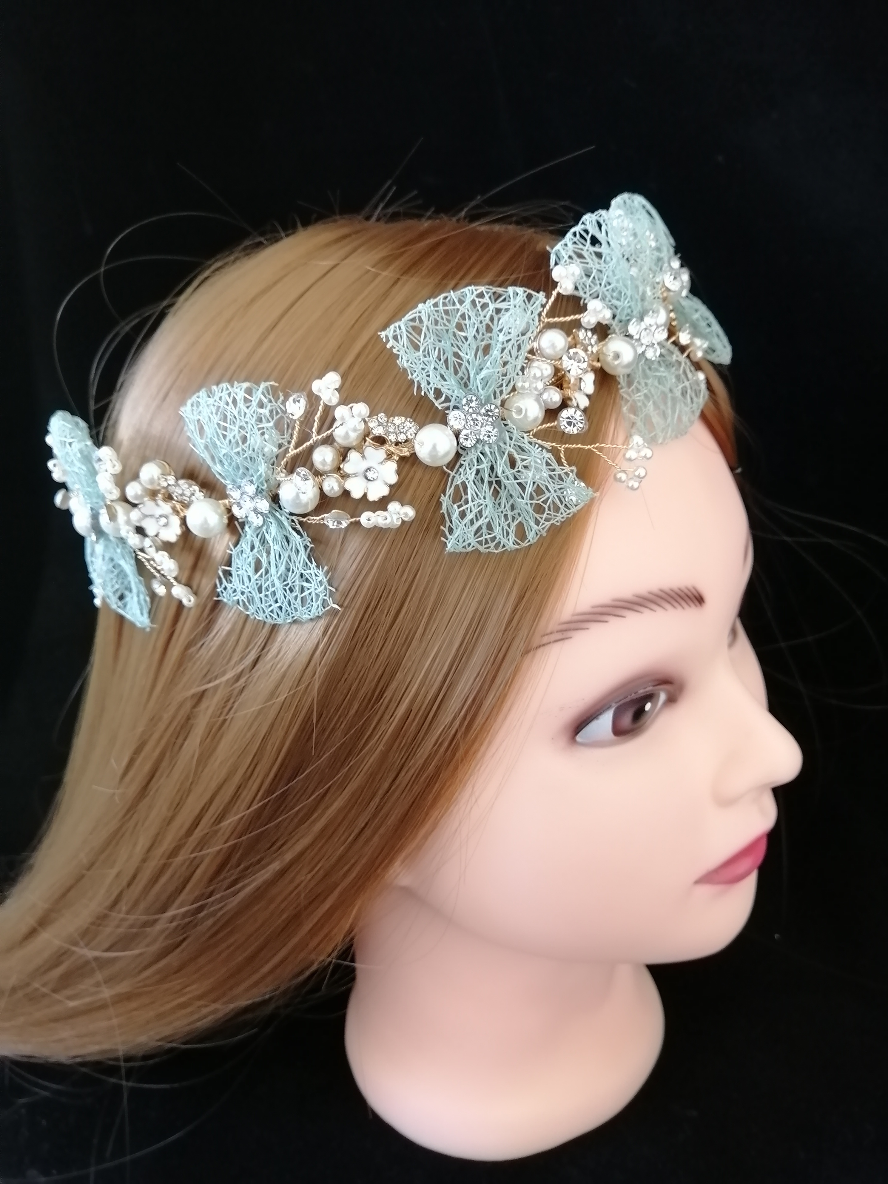 Superior Green Bow Bridal Tiaras Headbands Hairwear Chaplet Hairdressing  Jewelry Accessories,Luxury Korean Wedding Combs
